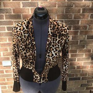 Avital Leopard Print Zip Front Top Brown S EUC
